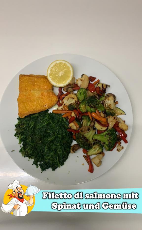 Filetto di salmone mit Spinat und Gemüse-2